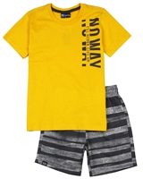 Quimby Boys T-shirt and Striped Shorts Set in Yellow/Charcoal