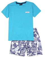 Quimby Boys T-shirt and Swim Shorts Set in Aqua/Blue
