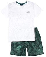 Quimby Boys T-shirt and Swim Shorts Set in White/Green