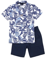 Quimby Boys Tropical Print Polo and Pique Shorts Set