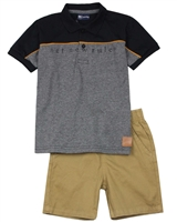 Quimby Boys Polo and Poplin Shorts Set in Black/Brown