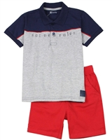 Quimby Boys Polo and Poplin Shorts Set in Navy/Red