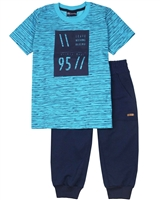 Quimby Boys Striped T-shirt and Pique Capri Pants Set in Aqua/Navy