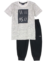 Quimby Boys Striped T-shirt and Pique Capri Pants Set in Grey/Black