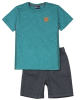 Quimby Boys Striped T-shirt and Poplin Shorts Set in Green/Charcoal