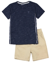 Quimby Boys Striped T-shirt and Poplin Shorts Set in Black/Beige