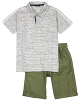 Quimby Boys Striped Polo and Linen-look Shorts Set
