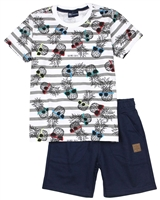 Quimby Boys Pineapple Print T-shirt and Terry Shorts Set in White/Navy
