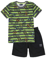 Quimby Boys Pineapple Print T-shirt and Terry Shorts Set in Green/Black
