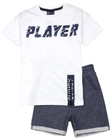 Quimby Boys T-shirt and Jacquard Knit Shorts Set in White/Navy
