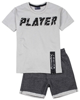 Quimby Boys T-shirt and Jacquard Knit Shorts Set in Grey/Black