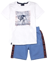 Quimby Boys T-shirt with Bicycle Print and Terry Shorts Set in White/Blue