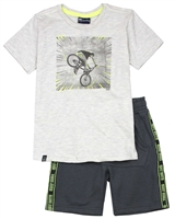 Quimby Boys T-shirt with Bicycle Print and Terry Shorts Set in Grey/Charcoal