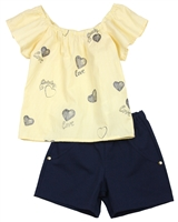 Quimby Girls Blouse in Hearts Print and Pique Shorts Set