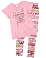 Quimby Girls T-shirt and Doggies Print Leggings Set