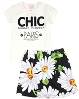 Quimby Girls T-shirt and Daisy Print Skirt Set