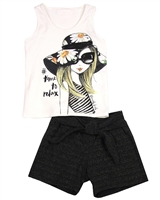 Quimby Girls Tank Top and Gold Stripe Shorts Set