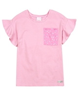 Quimby Girls T-shirt with Star Print Chest Pocket
