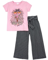 Quimby Girls T-shirt and Striped Pants Set