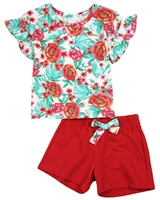 Quimby Girls Floral Print Top and Fuchsia Shorts Set