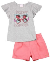 Quimby Girls T-shirt with Glasses Print and Shorts Set