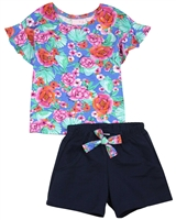 Quimby Girls Floral Print Top and Navy Shorts Set