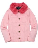 Quimby Girls Twill Jacket with Fur Collar