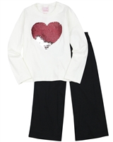 Quimby Girls Jersey Pants and T-shirt Set in Navy/White