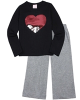 Quimby Girls Jersey Pants and T-shirt Set in Grey/Navy