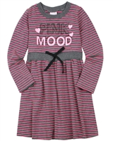 Quimby Girls Striped Jersey Dress in Grey