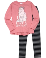 Quimby Girls T-shirt and Striped Leggings Set