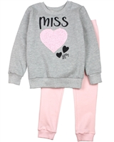 Quimby Girls Sweatshirt with Heart and Pants Set in Grey/Pink