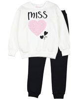 Quimby Girls Sweatshirt with Heart and Pants Set in White/Navy