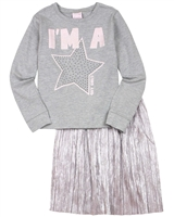 Quimby Girls T-shirt with Star and Plisse Skirt Set