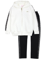 Quimby Girls Jogging Set with Textured Jacket in White/Navy