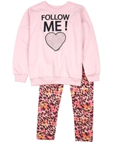 Quimby Girls Sweatshirt and Terry Leggings Set in Pink