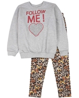 Quimby Girls Sweatshirt and Terry Leggings Set in Grey/Brown