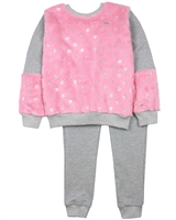 Quimby Girls Sweatshirt with Sherpa Fleece and Terry Pants Set