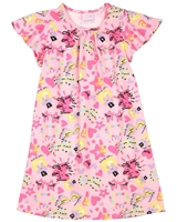 Quimby Girls Printed Jersey Dress in Pink