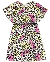 Quimby Girls Jersey Dress in Cheetah Print with Belt