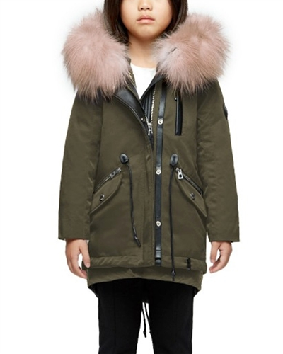 Rudsak Girls Convertible Down Coat Wave in Army Green