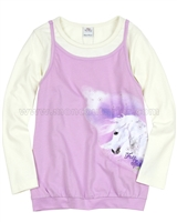 s.Oliver Girls' Long Sleeve Layered Top with a Horse Print