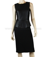Siste's Women's Leather Peplum  Dress