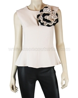 Siste's Women's Top with Flower Nude