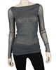Siste's Women's Boat Neck Mesh Top Gray