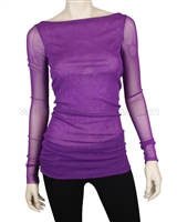 Siste's Women's Boat Neck Mesh Top Purple