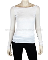 Siste's Women's Boat Neck Mesh Top White