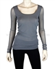 Siste's Women's Scoop Neck Mesh Top Gray
