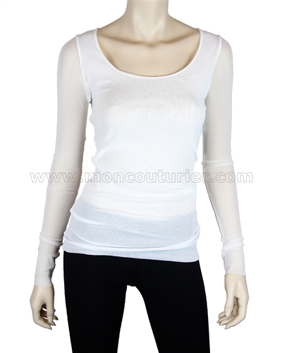 Siste's Women's Scoop Neck Mesh Top White