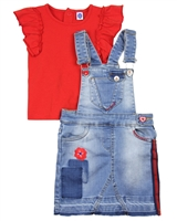 Tuc Tuc Little Girl's Denim Jumper Dress and T-shirt Set